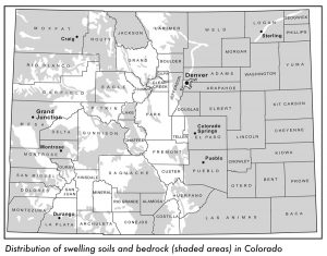 Map of Colorado with swelling soils.